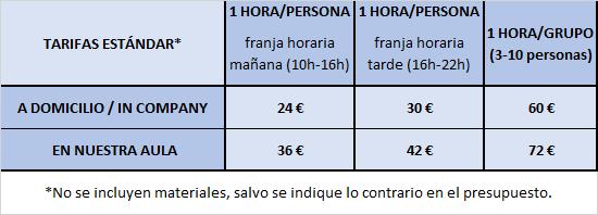 tarifas personalizados 2018