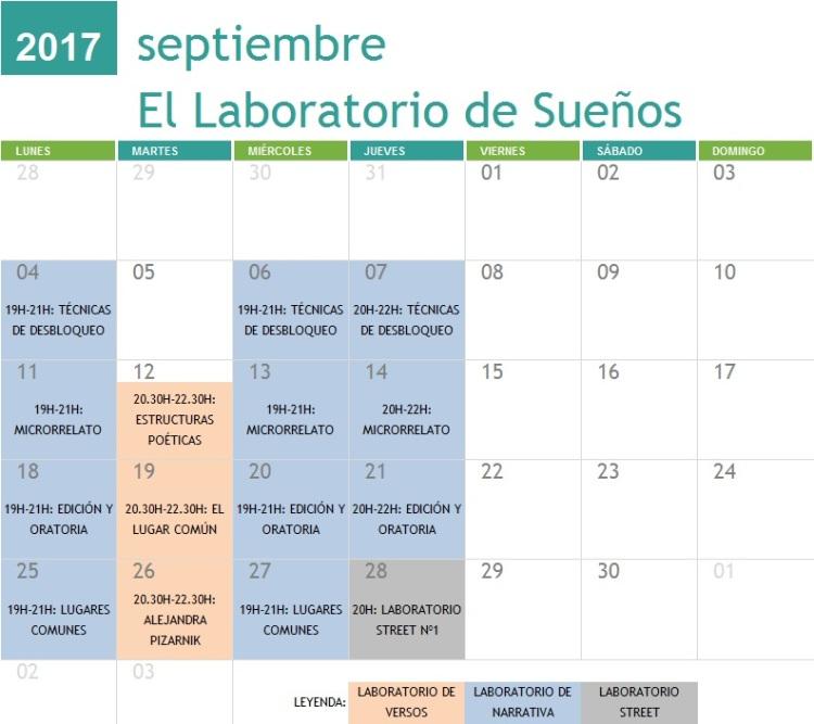 Calendario Talleres 2017