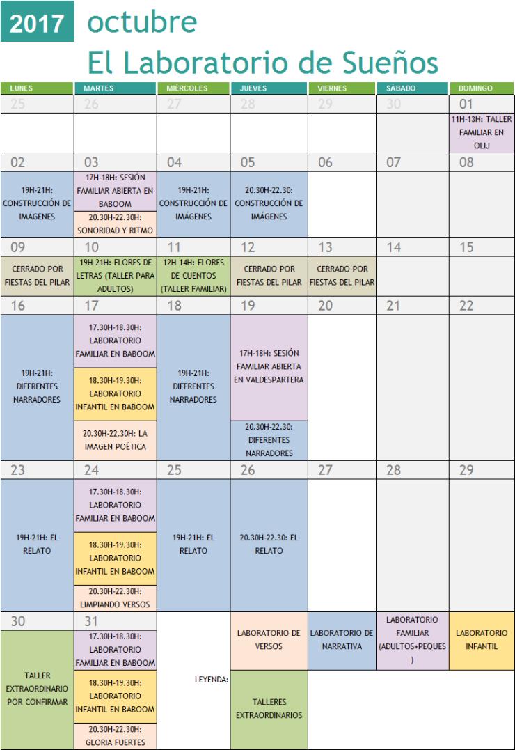 Calendario Talleres Octubre 2017
