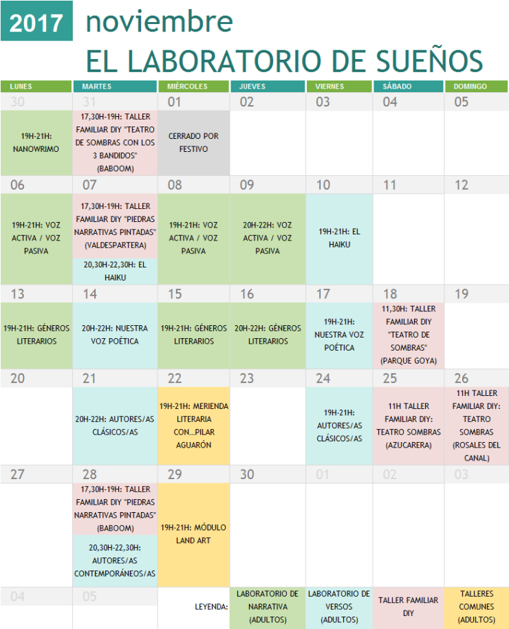 Calendario Talleres Noviembre 2017
