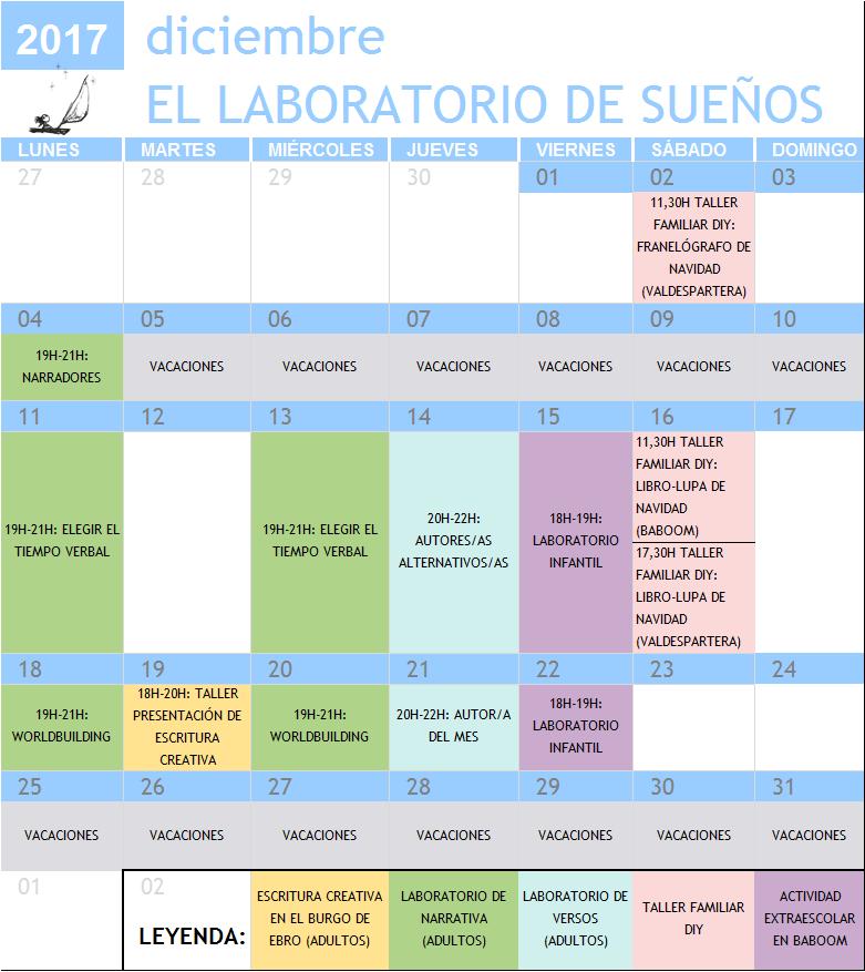 Calendario Talleres Diciembre 2017