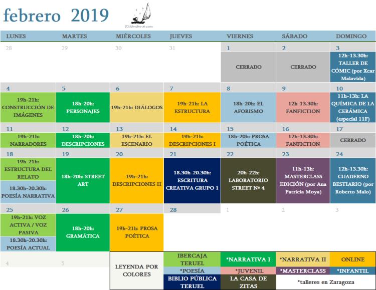 calendario febrero 2019