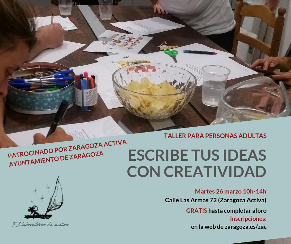 Taller gratuito de escritura creativa en Zaragoza Activa Las Armas